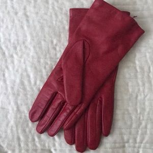 Nordstrom Red Leather Gloves, Cashmere/Wool Lining
